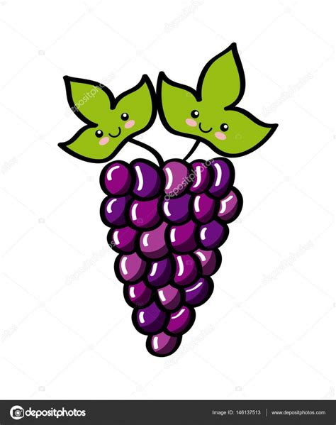 Imagenes De Uvas Kawaii | desenho de frutas kawaii vetores de stock 169 yupiramos