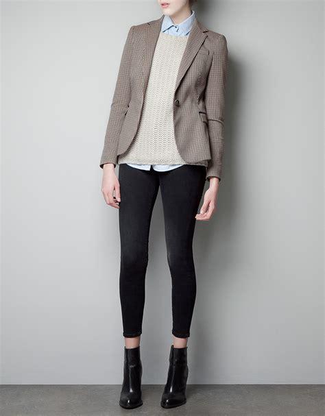 Blazer Zara Zara Houndstooth Blazer In Lyst