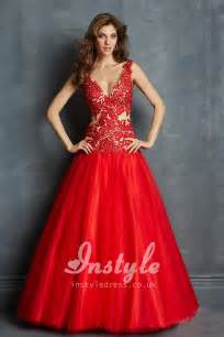 scarlet lace and tulle ball gown prom dress with plunging