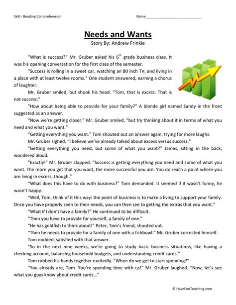Needs And Wants Worksheets by Reading Comprehension Worksheet Fireball Wand