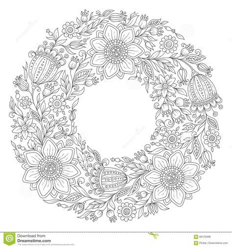 flower wreath coloring page drawn wreath color pencil and in color drawn wreath color