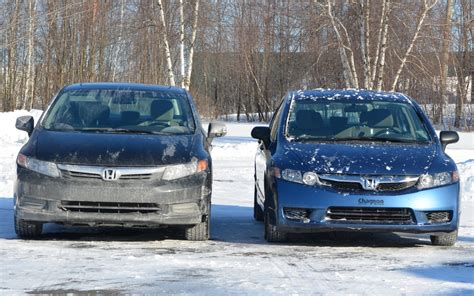Fogl Civic 2009 2012 2012 honda civic with the 2009 honda civic on the right the 2009 looks like it sits lower than