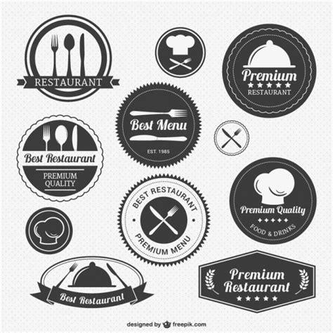 restaurant layout with labels vintage restaurant logo pack vector free download