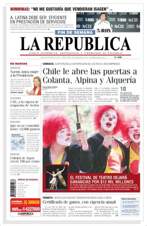la republica edition books journal la republica colombie les unes des journaux de