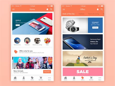 App Home Screen Design Inspiration free ecommerce app ui free psd at freepsd cc