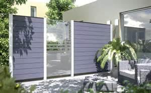 windschutz terrasse glas sichtschutzzaun holz mit metallpfosten bvrao