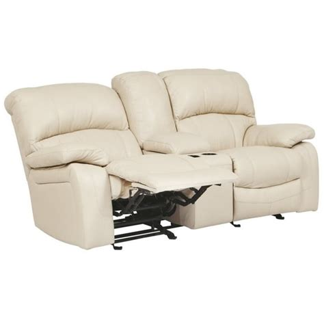 Console Loveseat Ashley Damacio Leather Glider Reclining Loveseat With