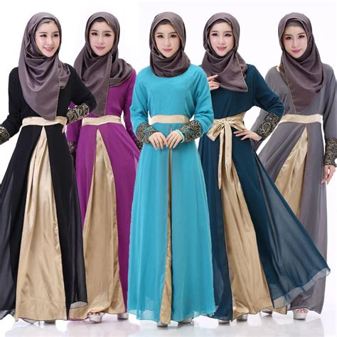 Gamis Skirt sleeve muslim evening prom dresses