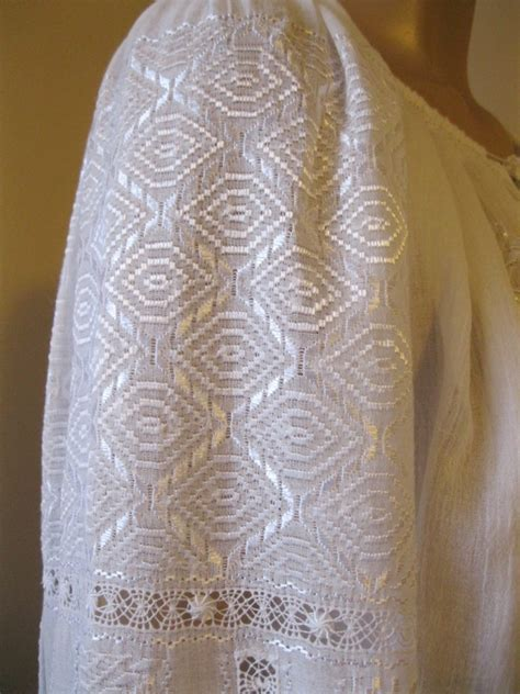 White Embroidered Size M L embroidered blouse white rhomb size m l