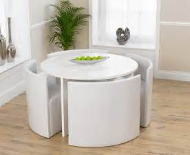 White Circle Dining Table And Chairs Buy The Oslo 120cm White High Gloss Stowaway Dining Table