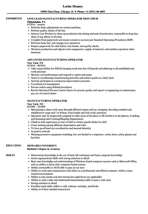 production worker resume manufacturing manager job description