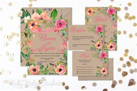 printable wedding invitations floral summer watercolor floral wedding invitation floral