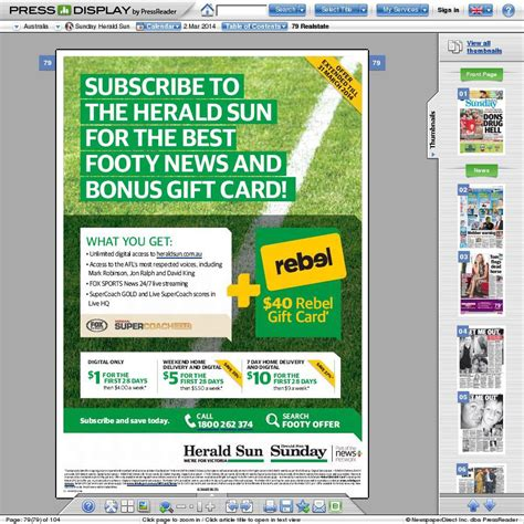 Rebel Sport Gift Card - free 40 gift card for rebel sport with 1 subscription to herald sun news ltd
