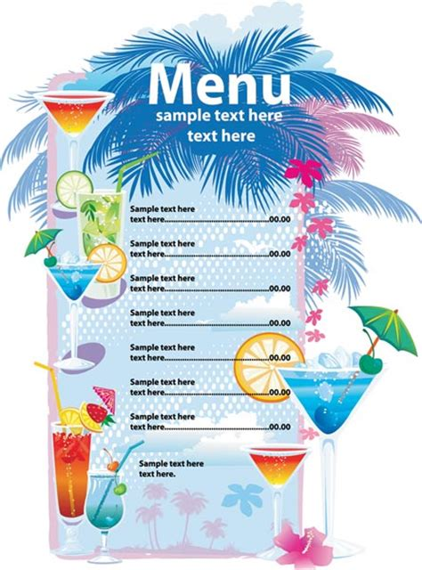 liquor menu template alcoholic drinks menu vector template