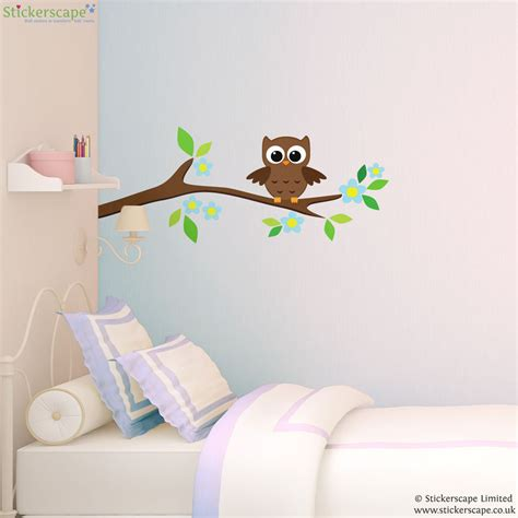 wall sticker owl owl on a tree branch wall sticker stickerscape uk