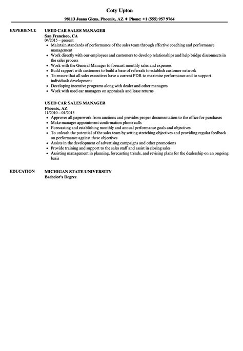Used Car Manager Cover Letter by State Representative Sle Resume Sle Resume For It Professional