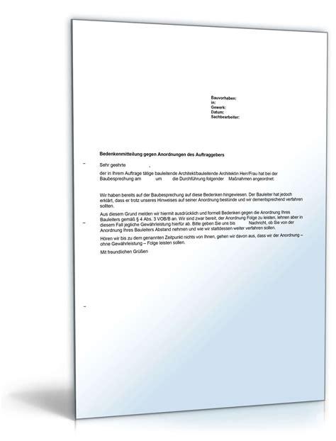 Vob Musterbriefe Für Auftraggeber Musterbrief Bedenkenanmeldung Gegen Anordnung Auftraggebers