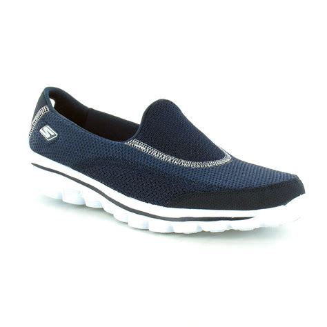 skechers go walk 2 womens slip on walking shoe navy blue