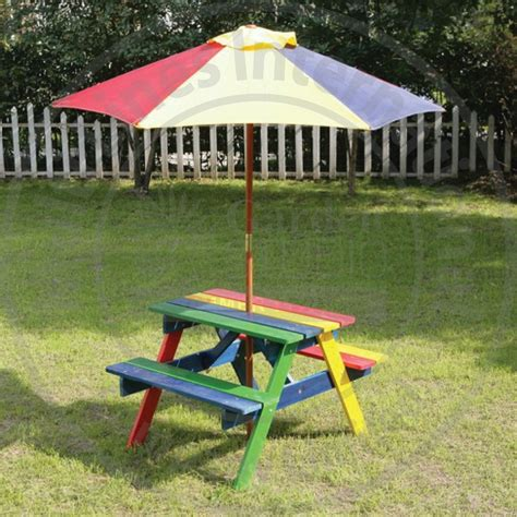buy picnic bench wooden rainbow garden picnic table bench parasol set kids