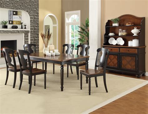 Coaster Dining Room Sets by Coaster 7 Pc Country Tobacco Black Wood Dining Room Set