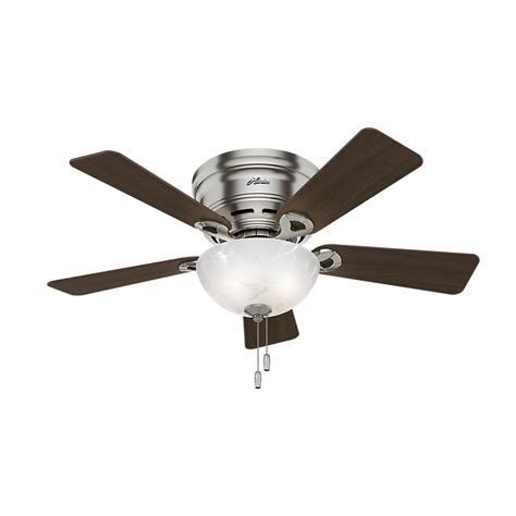 low profile brushed nickel ceiling fan hunter haskell 42 in low profile indoor brushed nickel