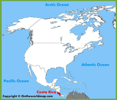 where is costa rica on a world map costa rica location on the america map