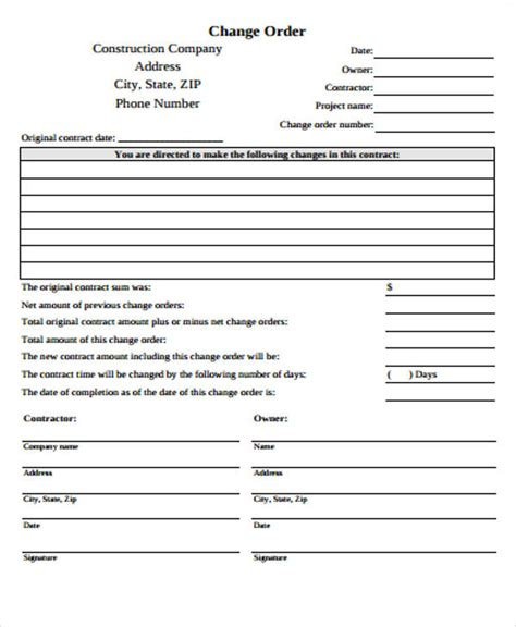 construction change order form template sle construction change order form 7 exles in