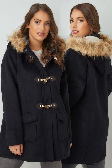 Can You Return Tilly S Gift Cards - navy duffle coat with hood faux fur trim plus size 16 to 36