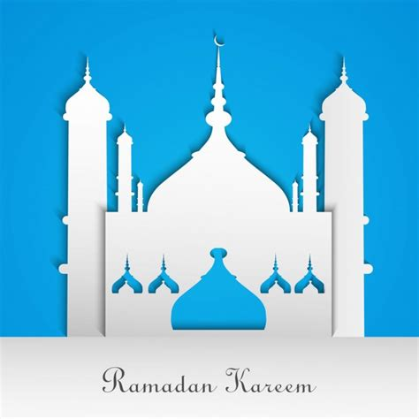 design masjid vector free download blue and white ramadan background with a mosque vector