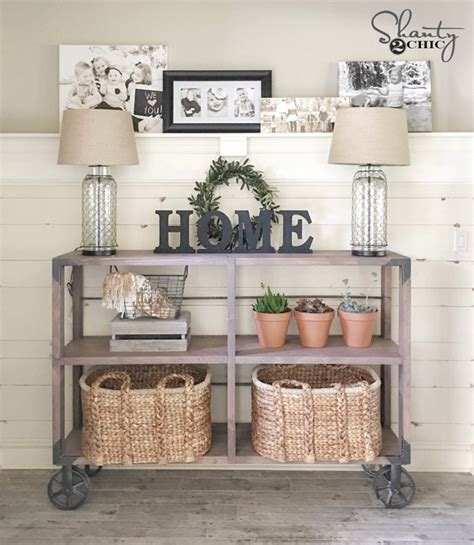 Diy industrial cart console table shanty 2 chic
