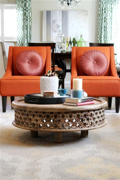 Orange Chairs Living Room Orange Transitional Chairs Traditional Living Room Los Angeles By Modern Home