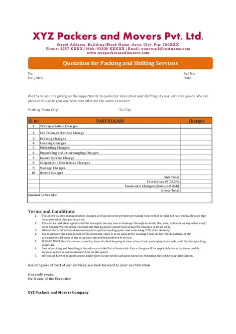 Server Sample Resume by Quotations Format For Packers And Movers Companies In India