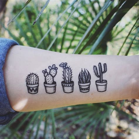 simple nature tattoos potted cactus temporary tattoos succulent house plants