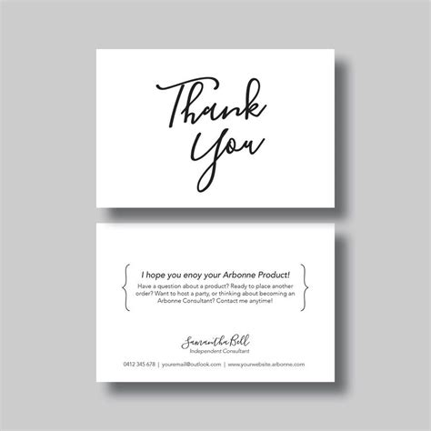 thinking of you card templates for word arbonne thank you card script digital design
