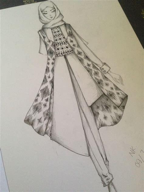 tutorial sketchbook indonesia fashion hijab sketch with tenun ikat tradisi indonesia