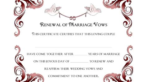vow writing template vow renewal certificate template traditional