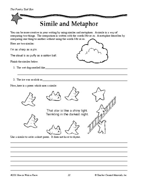 Simile And Metaphor Worksheet by Simile And Metaphor Worksheet Worksheets