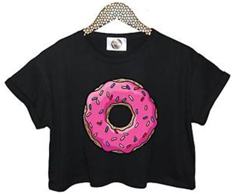 Kaos T Shirt Donut Sweety pink donuts crop top t shirt retro sweet