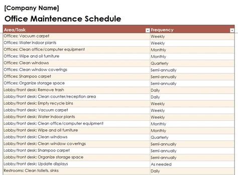 Apartment Building Maintenance Schedule Search Results For Building Preventive Maintenance