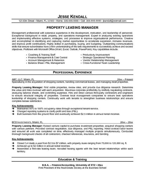 property manager resume exle property leasing manager resume free sle