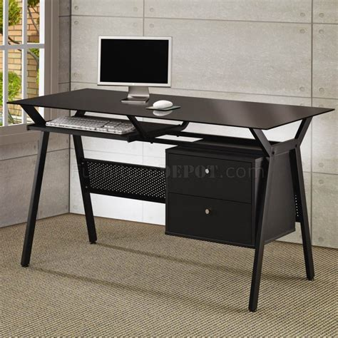 home office black desk black metal glass modern home office desk w 2 storage drawer