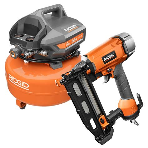 ridgid 16 finish nailer 6 gal pancake compressor of60150ha r250s the home depot