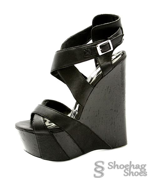 shoehag shoes bebe womens wedge sandals size 7 m black