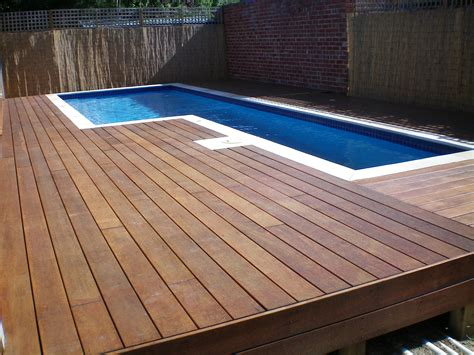 Deck L by L Shaped Above Ground Pool With Hardwood Deck Idea Of 13