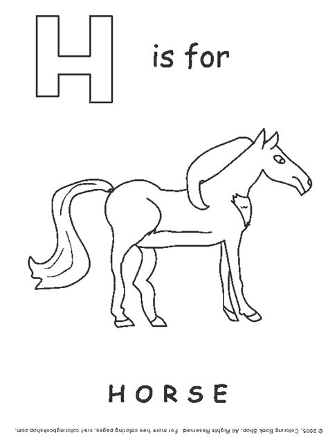 horse coloring page h is for horse coloring page