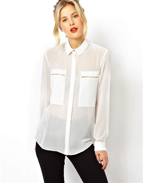 Asos Blouse asos asos blouse with sheer and solid panels and zip