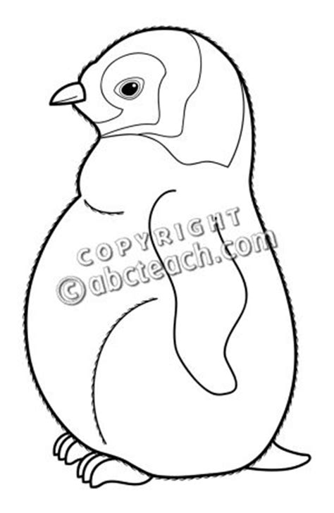 penguin chick coloring page clip art baby animals penguin chick b w abcteach
