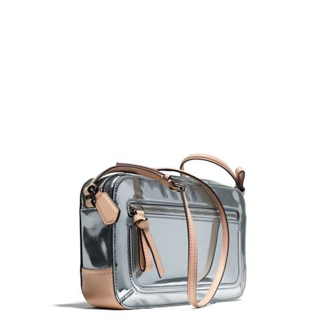 lyst coach poppy flight bag in mirror metallic leather