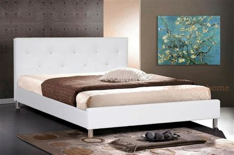 Modern White Bed Frame Modern White Black Faux Leather Platform Bed Frame Tufting Ebay