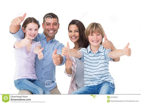 Family It Up by Happy Family Gesturing Thumbs Up Stock Photo Image 50493354